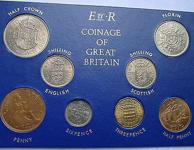 1966 Uncirculated Set of all Issued coins Halfpenny to Halfcrown