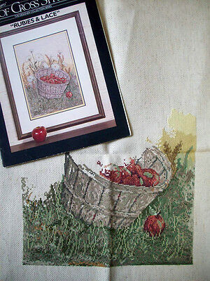 Rubies & Lace basket of apples started half done cross stitch & pattern