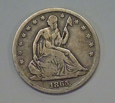 {BJStamps}  1865 S Seated Liberty Silver HALF DOLLAR