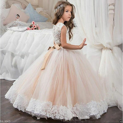 Wedding Flower Girl Dress Party Prom Princess Pageant Bridesmaid Girls' Formal