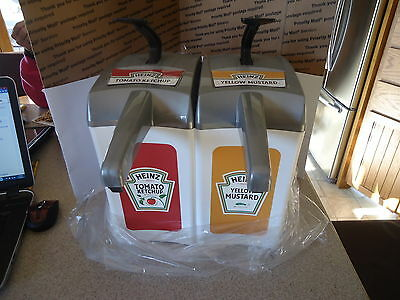 New HEINZ 1.5 Gal DISPENSERS Ketchup and Mustard ASEPT Made in Sweden