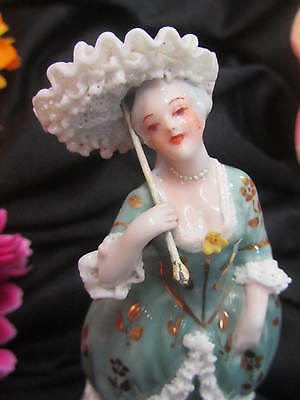ANTIQUE porcelain FIGURINE lady with parasol LACE Gilt SIGNED Italy CABINET size