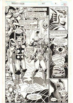 Thor #467 p.13 - Thor and Valkyrie Holding Hands Splash - 1993 art by Bruce Zick