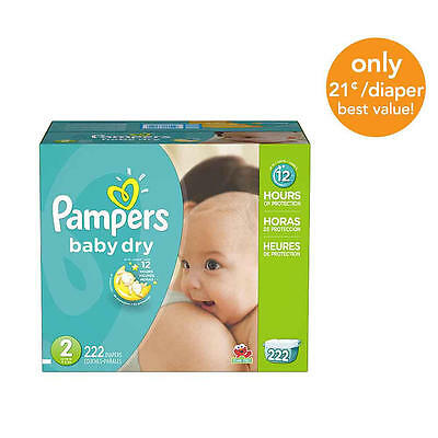 Pampers Baby Dry Size 2 Diapers Economy Plus Pack - 222 Count - $0.21/Ea.