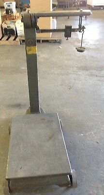 Antique Platform Scale Fairbanks Portable Beam Utility Weghing 1000 lbs capcity