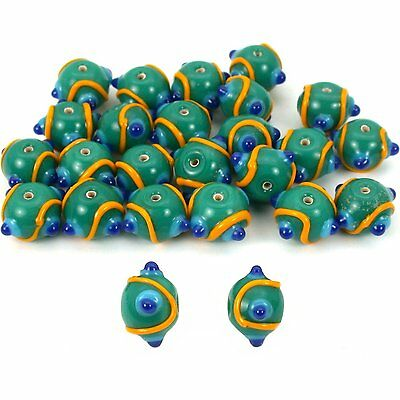 Green Round Dot Glass Beads Lampwork 12mm Approx 25