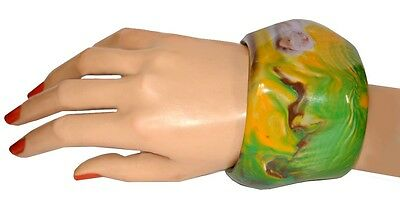 Gorgeous Oversized Swirled Multi Color Resin Bangle Bracelet Green Yellow Brown