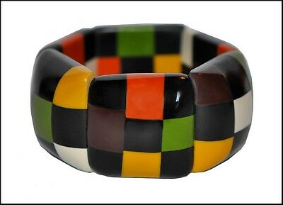 Chunky Deco Shape Checkered Resin Expandable Stretchy Bracelet -Fall Colors