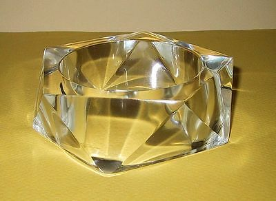 Fab Deco Shape Chunky Clear Lucite Faceted Bangle Bracelet