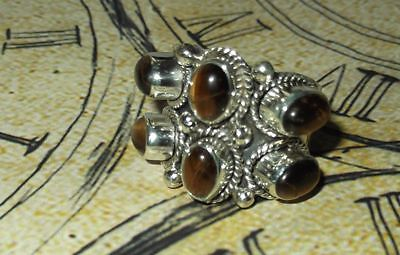 925 Indian Sterling Silver TIGERS EYE LARGE WIDE TRIBAL Ring Size P 1/2 NEW
