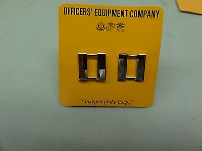 Genuine Us Military Set Of 2 Marine Corps Captain Rank Pin On Chrome For Collar