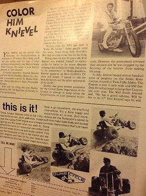 5 Pages Road Test 1971 Bridgestone 175@ Article On Evel Knievel @ Dunecycle Ad