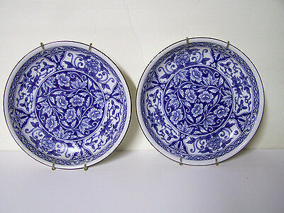 Lot Of 2 Vintage Cobalt Blue White Hanging Wall Pottery Plate Dish Bowl +Hangers