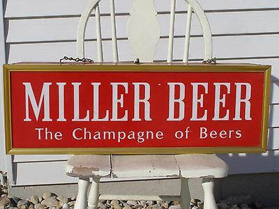 "Vintage Miller ""The Champagne of Beers"" Lighted Double Sided Metal Sign Bar Pub"