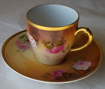 ANTIQUE HAND PAINTED ROSES & GOLD, DEMITASSE CUP & SAUCER. H & Co. SELB, BAVARIA