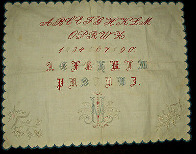 Victorian School Girl Practice Stitching Sampler Early 1900 ABC Embroidery Monog