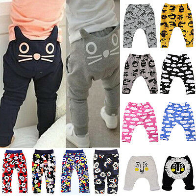 Kids Baby Boys Girls Cartoon Print Clothes Bottoms Harem Pants Toddler Trousers