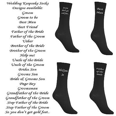 New Black Mens Wedding Socks £1.99 per pair Various Titles Groom Best Man Father