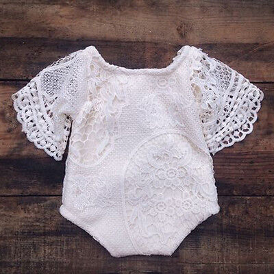 Newborn Infant Baby Girl Lace Floral Romper Bodysuit Jumpsuit Outfits US Stock