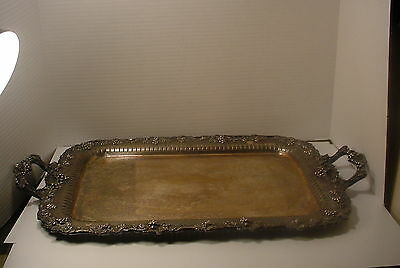 Vintage Pairpoint Heavy Ornate Serving Tray with Grapes Pierced Silverplate