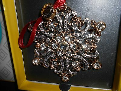 New LIZ CLAIBORNE Gold TONE Crystal SNOWFLAKE CHRISTMAS ORNAMENT 2016 Gift