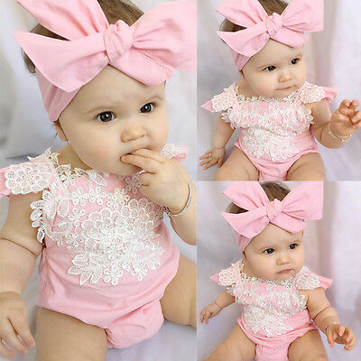 Newborn Baby Girl Rompers Bodysuit Lace Floral Jumpsuit Headband Outfits Sunsuit