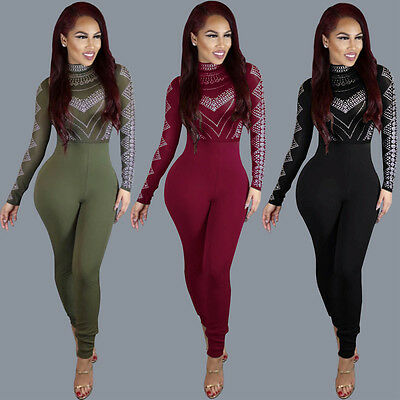 Women Clubwear Long Sleeve Playsuit Bodycon Party Jumpsuit Long Romper US Stock