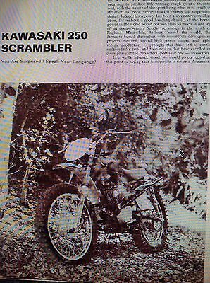 5 Pages 1967 Kawasaki 250 Scrambler Motorcycle Road Test 5 Pictures