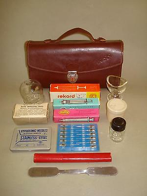 Vintage Old Small First Aid Doctor's Leather Bag with Medical Equipment Inside