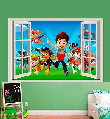 PAW PATROL 3D WALL STICKER SMASHED BEDROOM BORKEN decor Removable ART KIDS DECAL