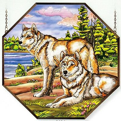 "Wolf Wild Life Wolves Forest 22"" Stained Glass Panel"