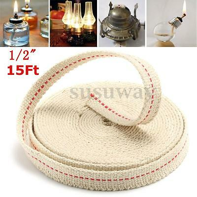 1.3/2/2.2/2.5cm 15ft Flat Oil Cotton Wick Lamp Lantern Burner Lighting Kerosene