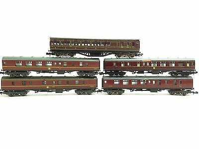 Graham Farish & Lima N Gauge Selection Of Maroon Coaches X5 Unboxed (B1-11)