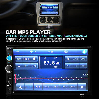 """7"""" HD Double 2 Din Car MP5 Player Bluetooth Touch Screen Head Units + CAMERA VF"""