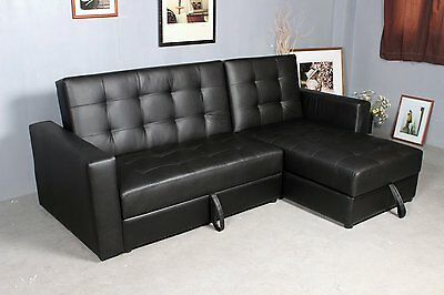 Deluxe Faux Leather Corner Sofa Bed Storage Sofabed Couch W/ Ottoman Black