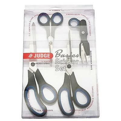 Judge Stainless Steel 4 Piece Sewing Household Embroidery Kitchen Scissors Set