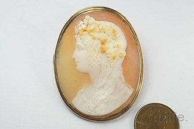 ANTIQUE MID VICTORIAN 15K GOLD FINELY CARVED ANTINOUS CAMEO BROOCH c1860