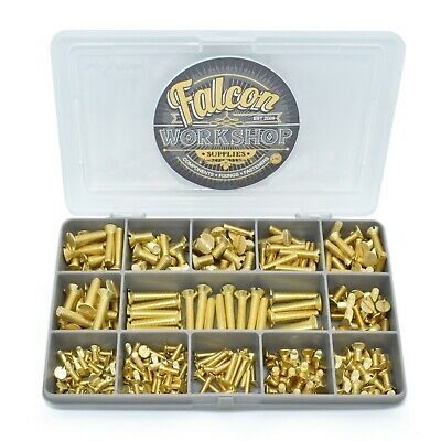270 Assorted Piece Solid Brass M3 M4 M5 Slotted Csk Machine Screw Bolt Kit