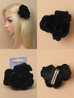 Pack Of 6 Large Fabric Black Rose Forked Clips, Grips, Flower - Sp-6652 Pk6
