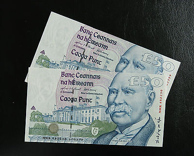 aUNC Ireland Set Of 2 Consecutive 50 Pound Banknotes 1999 Pick# 78a