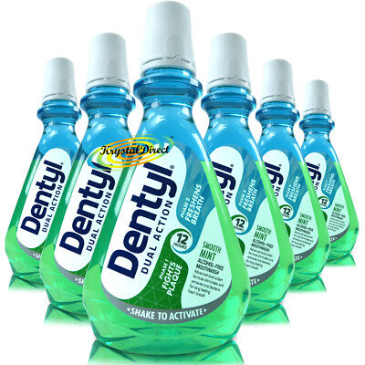 6x Dentyl Active Alcohol Free Mouthwash Smooth Mint Rinse 500ml Plaque Fighter