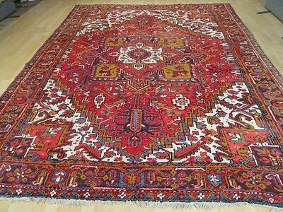 "large PERSIAN RUG CARPET Wool HAND MADE TRADITIONAL ANTIQUE 10ft 5"" x 8ft 3"""