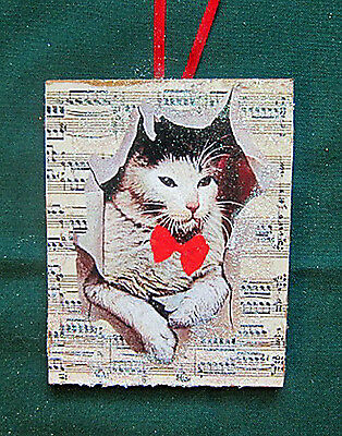 Cat Breaking Sheet Music Handcrafted Wooden Christmas Ornament Teacher Gift