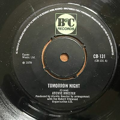 """Atomic Rooster Tomorrow Night UK 1970 7"""" B&C Recs (Scarce 4-Prong Centre Issue)"""