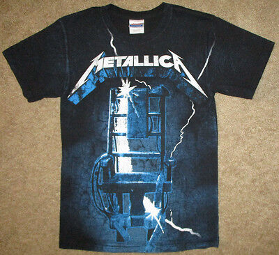 Vintage Metallica T-Shirt All Over Sz S (34) Graphic Tee RIDE THE LIGHTNING Rare