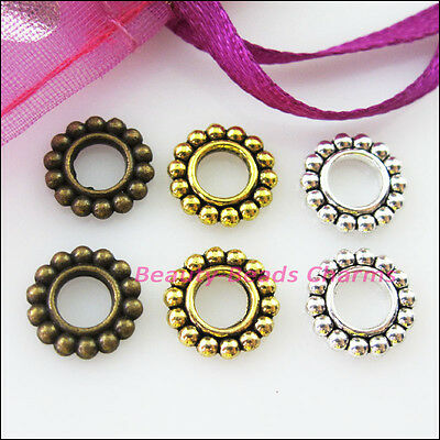 25 New Charms Round Circle Spacer Beads 10mm Tibetan Silver Gold Bronze Tone