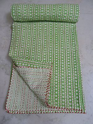 Hand Block Printed Kantha Quilt Patchwork Bedspread TWIN Size Cotton 018