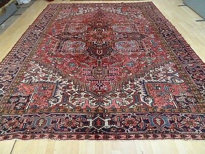 "large PERSIAN RUG CARPET Wool HAND MADE TRADITIONAL ANTIQUE 11FT 6"" X 8FT 10"""