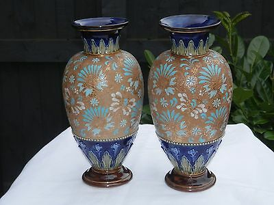 Pair Of Doulton Lambeth Art Nouveau Slater Stone Wear Vases Gilt Chinese Pattern