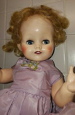 1950s Pedigree Doll 16 inch Plastic Vintage Doll in Original Box and a dress
